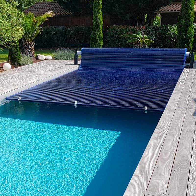 Volet piscine hors-sol automatique Silver Roll lames polycabronate