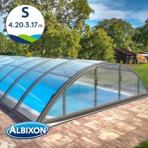 Abri de piscine télescopique en kit Klasik S 4.20 X 3.17 m coloris gris anthracite