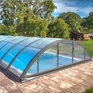 Abri de piscine télescopique en kit Klasik coloris gris anthracite