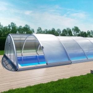 Abri de piscine télescopique en kit Klasik coloris gris aluminium
