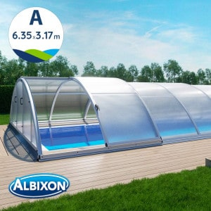 Abri de piscine télescopique en kit Klasik A 6.35 X 3.17 m coloris gris aluminium