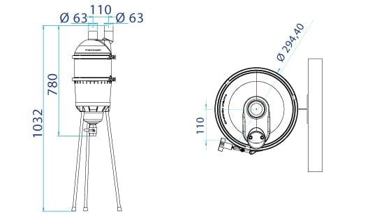Dimensions préfiltre ASTRAL HYDROSPIN