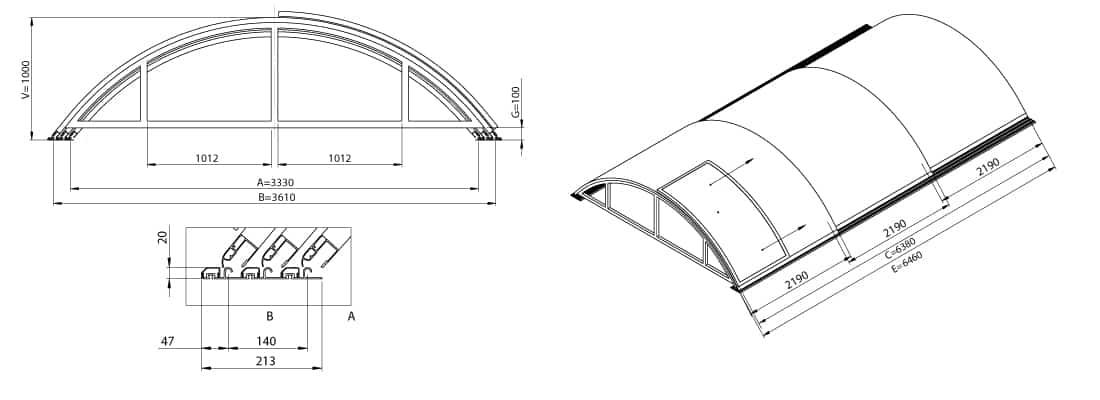 Dimensions de l'abri de piscine télescopique KLASIK A