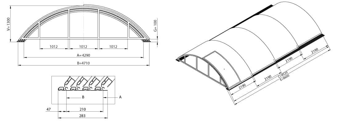 Dimensions de l'abri de piscine télescopique KLASIK B