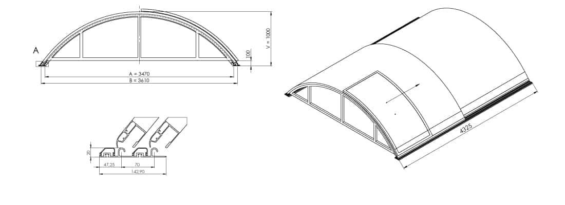 Dimensions de l'abri de piscine télescopique KLASIK S