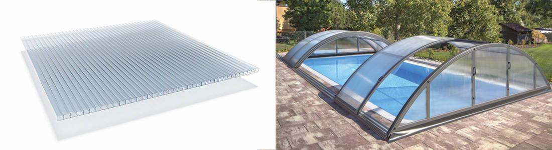 le polycarbonate alvéolaire est un bon isolant qui permet de se baigner plus souvent grâce à votre abri de piscine.