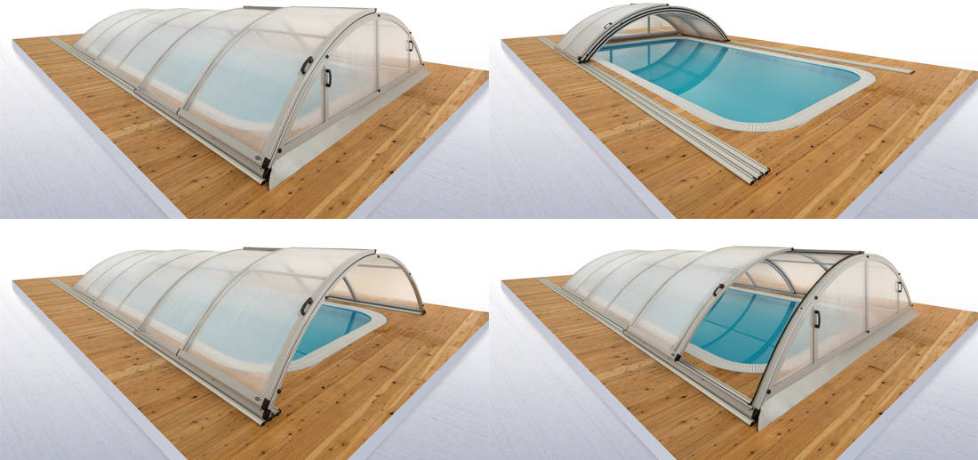Vue détaillée de l'abri de piscine télescopique