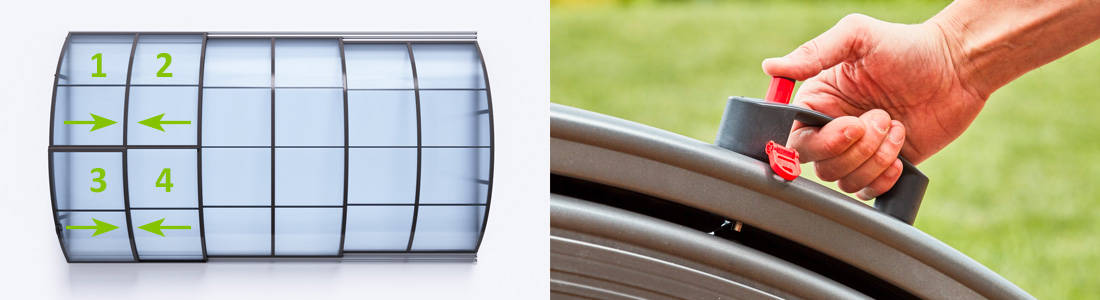 4 possibiltés d'installation pour la porte sécurisée de votre abri