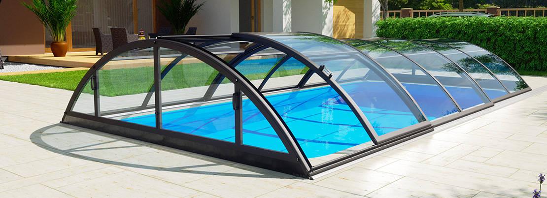 """Abri de piscine télescopique en kit Klasik clear A coloris gris anthracite """"DB 703"""""""