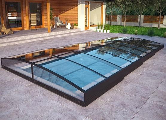 Abris bas télescopique de piscine