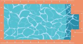 Piscine rectangulaire avec escalier centré sur la largeur