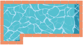 Piscine rectangulaire avec escalier excentré sur longueur droite