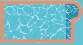 Piscine rectangulaire avec escalier roman excentré sur la gauche